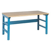 60 X 30 Shop Top Safety Edge Top Workbench W/ Double Reinforced Adj Legs- Blue