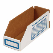 "Foldable Corrugated Shelf Bin 2""W x 12""D x 4-1/2""H, White - Pkg Qty 100"