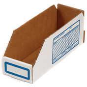"Foldable Corrugated Shelf Bin 6""W x12""D x 4-1/2""H, White - Pkg Qty 100"