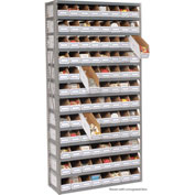 Steel Open Shelving with 96 Corrugated Shelf Bins 13 Shelves No Bin - 36x12x73