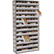 Steel Open Shelving with 72 Corrugated Shelf Bins 13 Shelves No Bin - 36x12x73