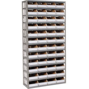 Steel Open Shelving with 48 Corrugated Shelf Bins 13 Shelves No Bin - 36x18x73