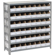 Steel Open Shelving with 48 Corrugated Shelf Bins 7 Shelves No Bin - 36x12x39