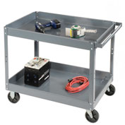 Edsal SC2016 2 Shelf Deep Tray Steel Stock Cart 30x16 500 Lb. Capacity