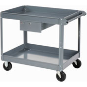 Edsal 2 Shelf Deep Tray Steel Stock Cart 36x24 800 Lb. Capacity with 1 Drawer