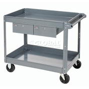 Edsal 2 Shelf Deep Tray Steel Stock Cart 36x24 800 Lb. Capacity with 2 Drawers
