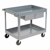 Edsal SC2224 2 Shelf Deep Tray Steel Stock Cart 36x24 500 Lb. Cap with 2 Drawers