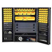 Durham Security Work Center & Storage Cabinet DCBDLP694RDR-95 - Deep Pocket Doors, With 69 Bins