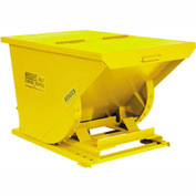 Wright 7599 3/4 Cu Yd Yellow HD Self Dumping Forklift Hopper with Heavy Gauge Base