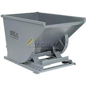 Wright 20099 2 Cu Yd Gray HD Self Dumping Forklift Hopper with Heavy Gauge Base