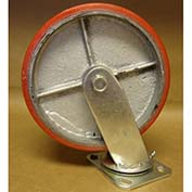 "Polyurethane Casters 8"" x 2"" (2 Swivel, 2 Rigid) for Wright Self-Dumping Hopper"