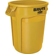 Rubbermaid Brute® 1956188 Trash Container w/Venting Channels, 44 Gallon - Yellow