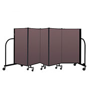"Screenflex Portable Room Divider 5 Panel, 4'H x 9'5""L, Fabric Color: Mauve"