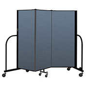 "Screenflex Portable Room Divider 3 Panel, 5'H x 5'9""L, Fabric Color: Blue"