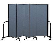"Screenflex Portable Room Divider 5 Panel, 6'H x 9'5""L, Fabric Color: Blue"