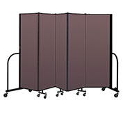 "Screenflex Portable Room Divider 5 Panel, 6'H x 9'5""L, Fabric Color: Mauve"