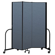 "Screenflex Portable Room Divider 3 Panel, 6'8""H x 5'9""L, Fabric Color: Blue"