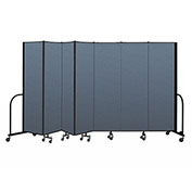 "Screenflex Portable Room Divider 7 Panel, 6'8""H x 13'1""L, Fabric Color: Blue"