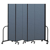 "Screenflex Portable Room Divider 5 Panel, 7'4""H x 9'5""L, Fabric Color: Blue"