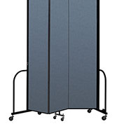 "Screenflex Portable Room Divider 3 Panel, 8'H x 5'9""L, Fabric Color: Blue"