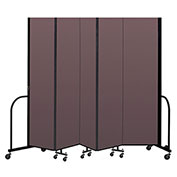 "Screenflex Portable Room Divider 5 Panel, 8'H x 9'5""L, Fabric Color: Mauve"
