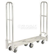 New Age 96856 Aluminum Deck Narrow Aisle High End U-Boat Platform Truck with Folding Handles