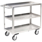 Jamco Stainless Steel Stock Cart XA236 3 Shelves Flush Top Shelf 36x24
