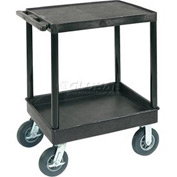 "Luxor® TC21FR-8 Flat Top Shelf 2 Shelf Plastic Cart 8"" Semi-Pneu Casters"