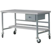 "Mobile 60"" X 30"" Plastic Top Workbench - Gray"
