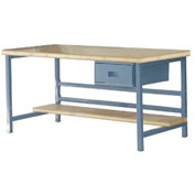 "Stationary 72"" X 30"" Shop Top Square Edge Workbench - Blue"
