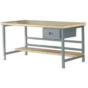 "Stationary 72"" X 36"" Shop Top Square Edge Workbench - Gray"