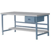 "Stationary 72"" X 36"" Plastic Laminate Square Edge Workbench - Blue"