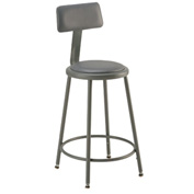 "Shop Stool with Back and Padded Seat - Adjustable Height 18"" - 27"" - Gray - Pkg Qty 2"