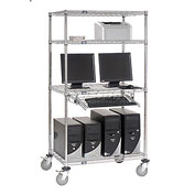 "Nexel™ 4-Shelf Mobile Wire Computer LAN Workstation w/Keyboard Tray, 36""W x 24""D x 69""H, Chrome"