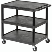 Luxor® HE34 Black Plastic Shelf Truck 24 x 18 x 32-1/2 3 Shelves