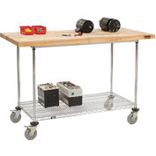"60""W x 30""D Mobile Workbench with Wire Rack - Maple Butcher Block Square Edge"