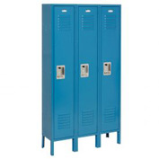 Infinity™ Locker Single Tier 15x18x72 3 Door Ready To Assemble Blue