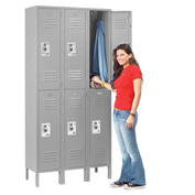 Infinity™ Locker Double Tier 12x15x36 6 Door Ready To Assemble Gray