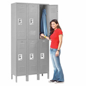 Infinity™ Locker Double Tier 12x18x36 6 Door Ready To Assemble Gray