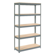 "Extra Heavy Duty Shelving 48""W x 24""D x 60""H With 5 Shelves, Wood Deck"