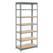 "Heavy Duty Shelving 36""W x 12""D x 96""H With 7 Shelves, Wood Deck"