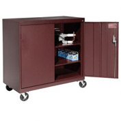 Sandusky Mobile Work Height Storage Cabinet TA2R462442 Double Door - 46x24x48, Burgundy