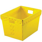 Corrugated Plastic Totes - Postal Nesting- Without Lid 18-1/2x13-1/4x12 Yellow - Pkg Qty 10