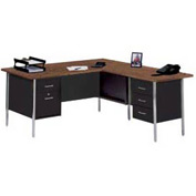 "72"" x 66"" L-Desk With Right Return-Black/Walnut Top"