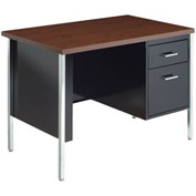 "MBI - Single Pedestal Desk - 40"" x 24"" - Black/Walnut Top"