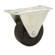 "Light Duty Rigid Plate Caster 4"" Rubber Wheel 240 Lb. Capacity"