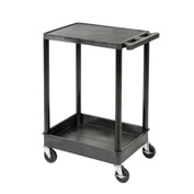 "Luxor® TC21 Flat Top Shelf 2 Shelf Plastic Cart 32x24 4"" Casters 400 Lb."