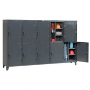 Strong Hold® Personnel Locker 106-24-2TPL - Double Tier 122x24x78 10 Door Assembled Gray