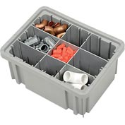 "Plastic Dividable Grid Container - DG91050,10-7/8""L x 8-1/4""W x 5""H, Gray - Pkg Qty 20"