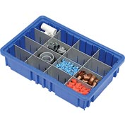 "Plastic Dividable Grid Container - DG92035,16-1/2""L x 10-7/8""W x 3-1/2""H, Blue - Pkg Qty 12"